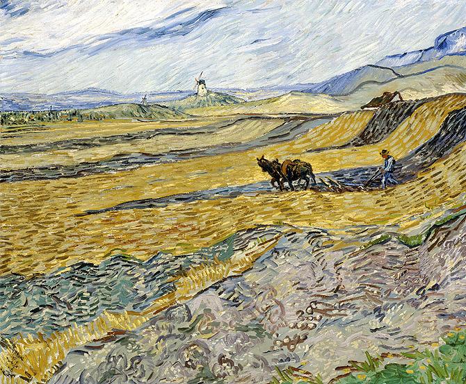 Campo cercado con labrador de Vincent Van Gogh en el Museo Lázaro