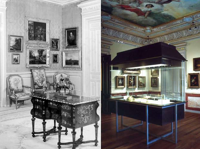 Comparativa entre las salas del Museo anteriores a la restauración y las actuales